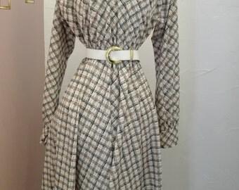 cream vintage Brown checkered dress