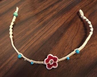 Flower Bead Hemp Necklace