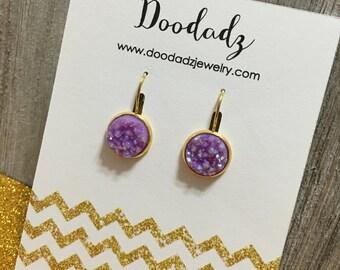 12 mm purple druzzy dangle earrings with gold base