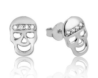 Skull Earrings, Silver Skull Earrings, 925 Sterling Silver Skull Earrings, Stone Skull Earrings, Sterling Silver Skull Earrings