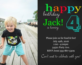 4th Birthday Invitation with Photo - Printable - Digital File