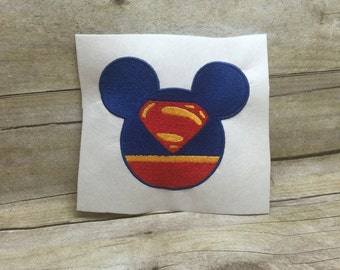 Superman Mickey Mouse Embroidery Design, Superman Embroidery Design