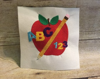 Back to School Embroidery Design, School Apple Embroidery Design