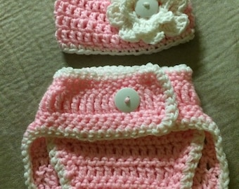 Beanie with white flower, diaper cover
