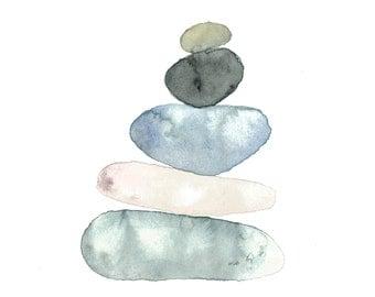 Balanced Rocks Watercolor Print