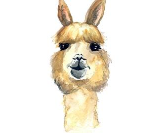 Lady Llama Watercolor Print