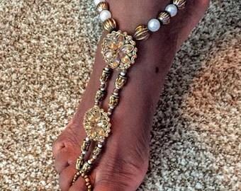 Brown Adult Barefoot Sandal-Adult Anklet- Slave Anklet-Foot Jewelry
