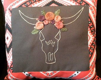 Steer Hand Embroidered Pillow