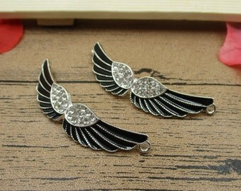 2 Black Enamel Wing Charms With Diamond-RS286