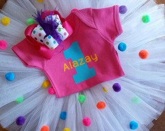 Colorful first birthday outfit