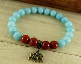 Amazonite bracelet Elephant bracelet, Womens bracelet, Throat chakra, Amazonite Jewelry, Yoga jewelry, Elephant jewelry, Animal bracelet