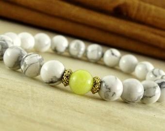 howlite bracelet white bead bracelet natural stone bracelet howlite jewelry jadeite white jewelry gift women bracelet birthday gift for her