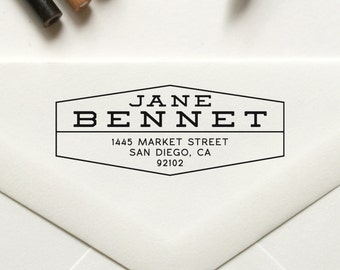 Personalized Return Address Stamp, Custom Self Inking Stamp / Rubber Stamp, Housewarming Gift, Wedding Stamp, Save the Date Stamp - No. 49