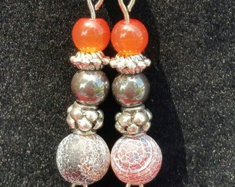 Fiery Orange Beaded Dangle Earrings