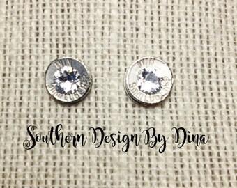 9 mm Stud Earrings with Swarovski Crystals