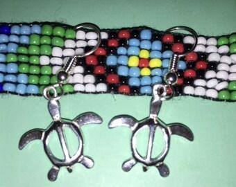 Tribal Turtle Sterling Silver Earrings