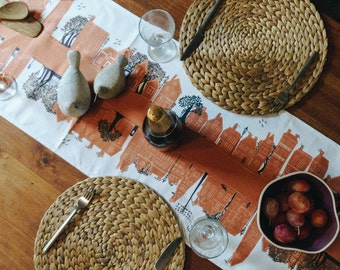 Table Runner- Town design - Table decoration -On the Street - terracota.  Brightens a table in seconds