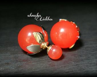 red pearls double Pearl Stud Earrings