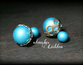 Blue beads double Pearl Stud Earrings