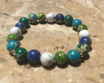 Sea Sediment/Howlite with Gold Bead Bracelet, Gemstone Bracelet, Women's Bracelet, Men's Bracelet, Beaded Bracelet, Gifts