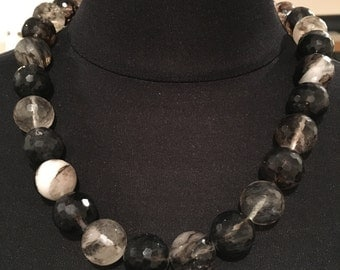 Agate Beaded Necklace Black White Brown Translucent Stones Vintage