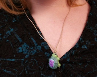 Purple, Green Turtle Necklace