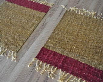 x4 HESSIAN 'Horizon' Placemats in Gold and Fuschia