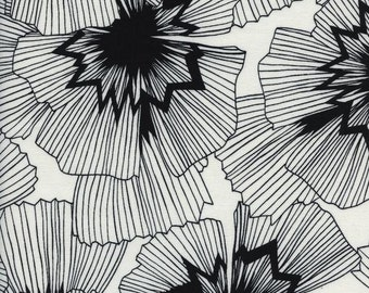 Black and White Floral Fabric | Large Detailed Flowers | Cotton and Steel Fabric | Big Black Flowers | Large Floral Fabric