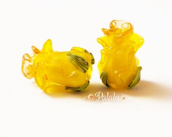 Pair of Handmade Lampwork Rose Bud Beads