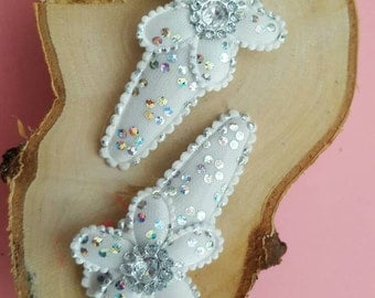 Hair Clips White Snow