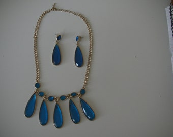 Vintage gold and cobalt blue necklace and drop earring set
