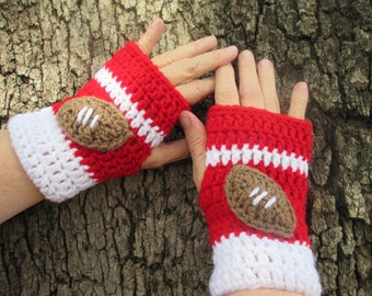 Made to Order Crochet Fingerless gloves with football , bow, or no motif. Select your school, college, or pro team colors.  Back to School!