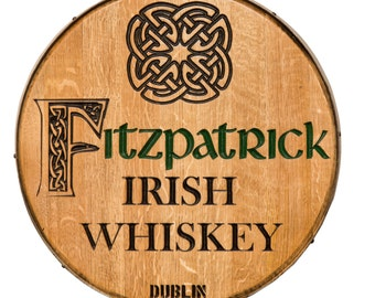 1073 Carved Whiskey Barrel Head