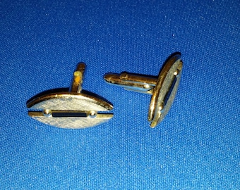 Vintage Swank Silvertone and Onyx Cufflinks