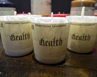 Crystal type spell votives: Health, Tranquility, Lust & Courage