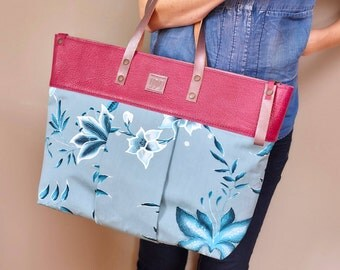 "Tasche, Handtasche, Designtasche, Bag, Shoulder Bag, Shopping Bag, Design-Bag, Tote Bag, Einzelstück,Unikat aus Serie ""legrand"" - floralblau"