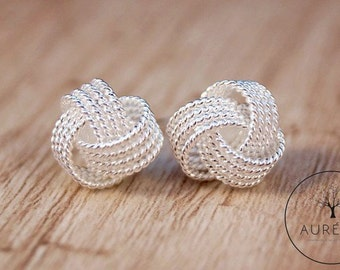 """Silver plated ear studs """"knot"""""""