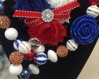 4th of July Necklace, Bracelet and Headband