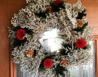 Holiday Wreath, Real Flower Holiday Wreath, Real Preserved Flower Wreath, Hoiday Decor, Real Holiday Wreath