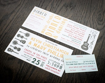 Music Festival/Concert Ticket Themed Wedding Invitations (Deposit Listing to Begin Design Process!)