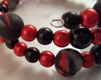 Bracelet with Red & Black Handmade Beads