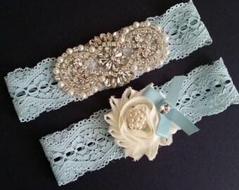 Wedding garter, Bridal Garter Set - Crystal Pearl Ivory Flower Wedding Garter Set