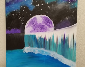 Moon and Waterfall Canvas Painting