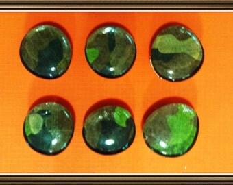 Camouflage  Glass Gem Magnet set of 6