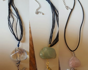 Wire wrapped stone necklaces with charms