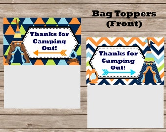 Camping Party Digital Bag Toppers--Boy
