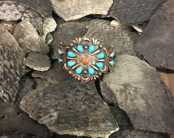 Valley blue turquoise and copper bracelet