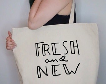 Fresh And New~ Large Canvas Tote Beach/Grocery BAG