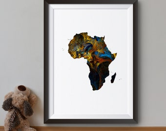 Africa Art Print - Map Poster - Continental map Illustration - Wall Art - Home Decor