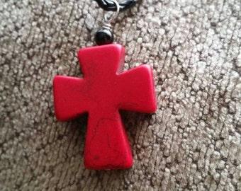 Red Fiesta Cross Pendant